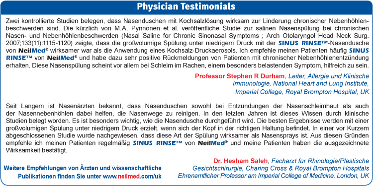 NeilMed Germany physician Testimonials