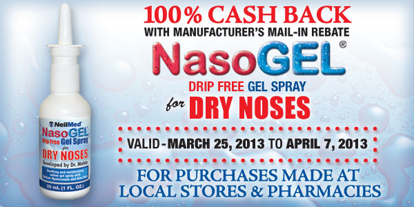 100% MAIL IN REBATE ON NASOGEL SPRAY